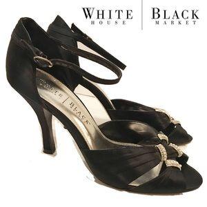 White House Black Market Black Satin strap pearl 9